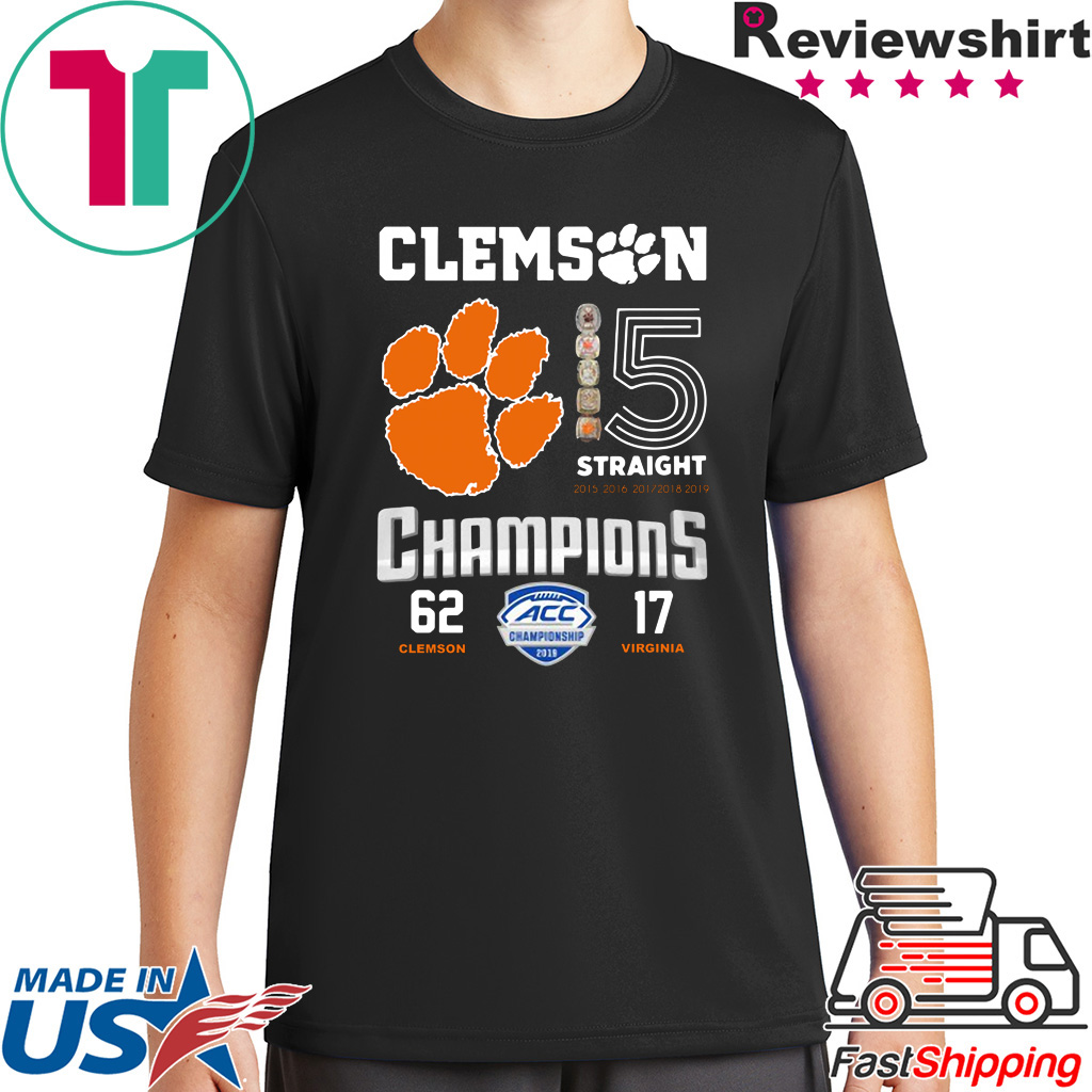 Clemson Tigers 15 Straight Champions Clemson 62 – 17 Virginia shirt