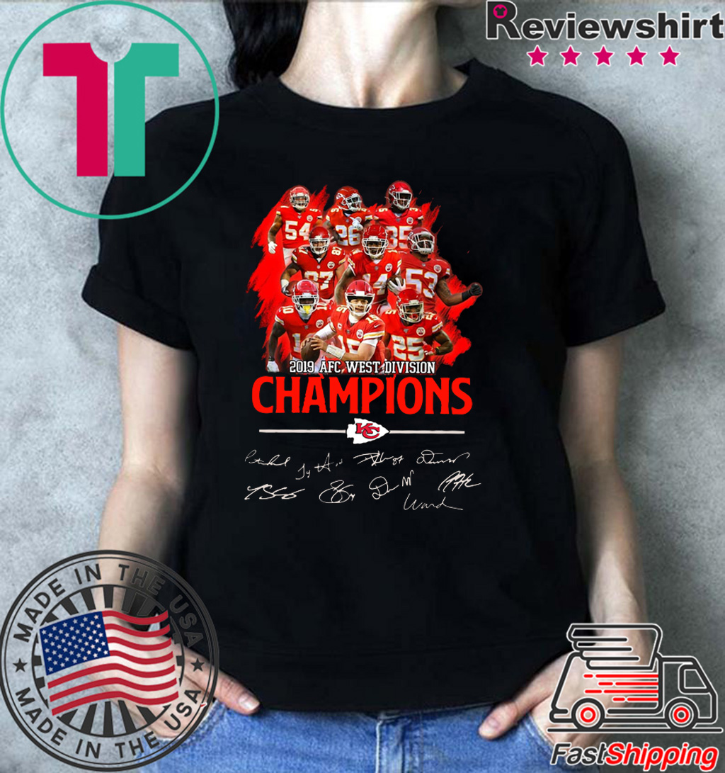 Kansas City Chiefs players 2019 afc west division champions signatures Tee Shirt