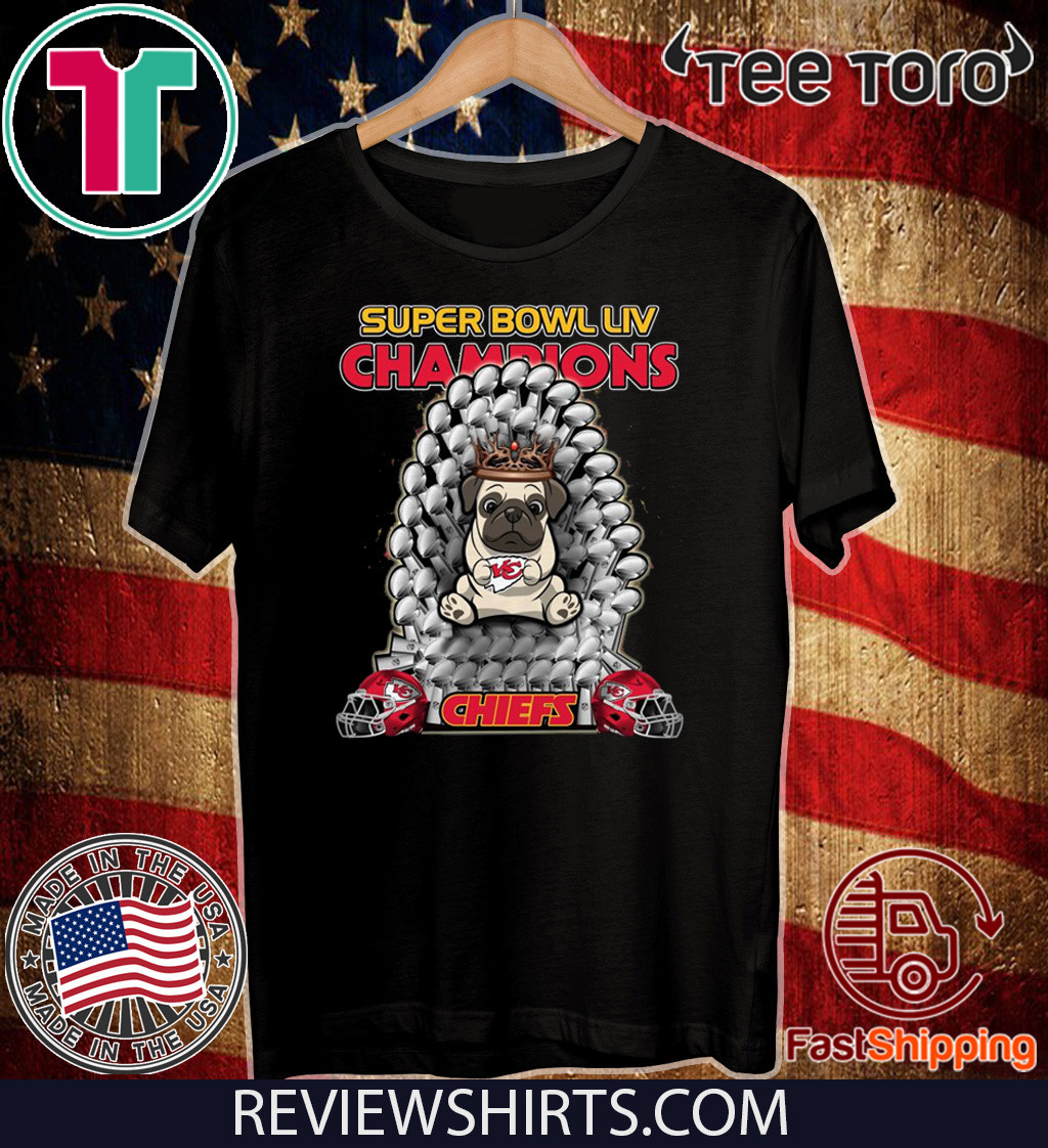 Pug Iron Throne Super Bowl LIV Champions Chiefs Official T-Shirt