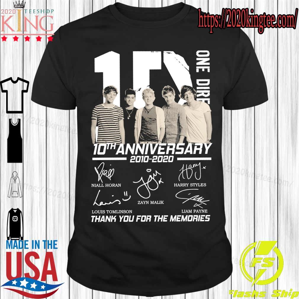 1D One Direction 10TH Anniversary 2010 2020 signatures shirt